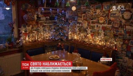 Немецкая семья украсила свой дом более, чем сотней рождественских елок