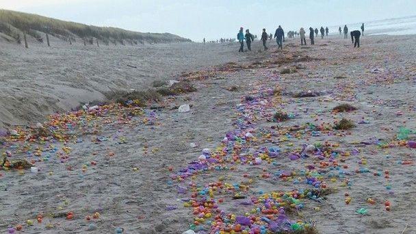 Неожиданные подарки: в Германии на берег выбросило тысячи игрушек LEGO и Kinder