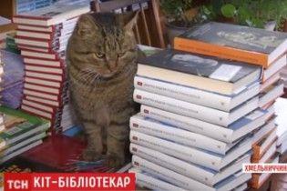 """На Хмельниччині кіт уже десятиліття """"працює"""" бібліотекарем"""