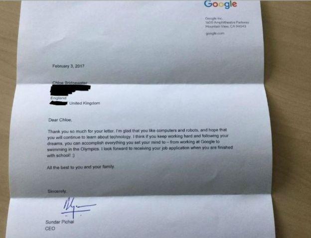Лист дівчинки до Google