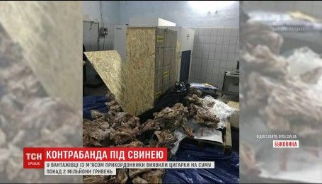 Черновицкие пограничники обнаружили 244 ящика сигарет под свининой в одной из фур