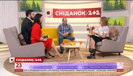 В гостях Сніданку - тренер Лиги Смеха Елена Кравец и креативный продюсер Андрей Чивурин