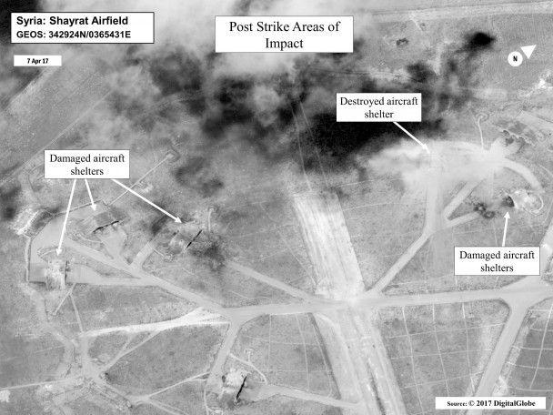 """З'явилися супутникові знімки розбомбленої """"Томагавками"""" сирійської авіабази"""