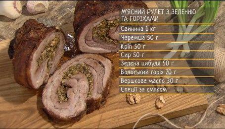 Мясной рулет с зеленью и орехами - рецепты Сеничкина
