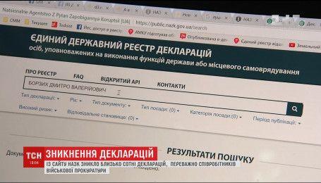 З реєстру електронних декларацій зникло більше сотні чиновників