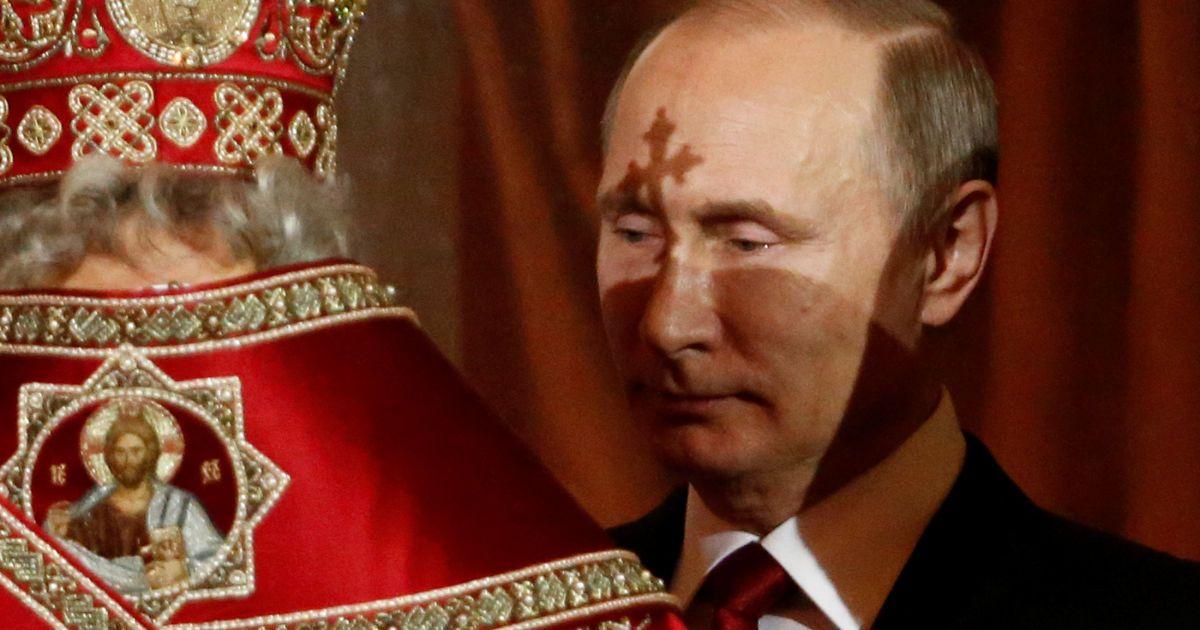 Президент РФ Володимир Путін у храмі Христа Спасителя, Москва