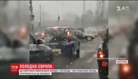 У деяких країна Європи випало до 8 сантиметрів снігу