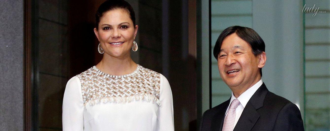 Принцесса Швеции Виктория в красивом наряде пришла на встречу с наследным принцем Японии