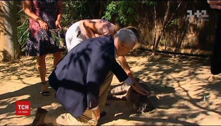 Вице-президент США Майк Пенс стал на колено перед кенгуру