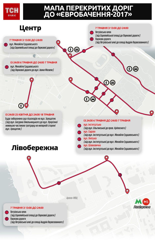 перекриті дороги до євробачення. інфографіка