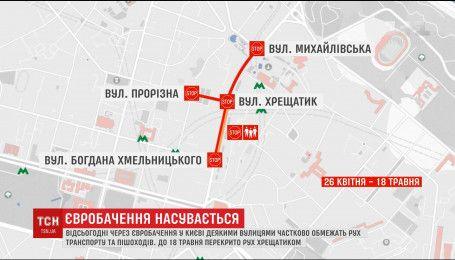 """За две недели до """"Евровидения"""" в Киеве перекрыли главную улицу города"""