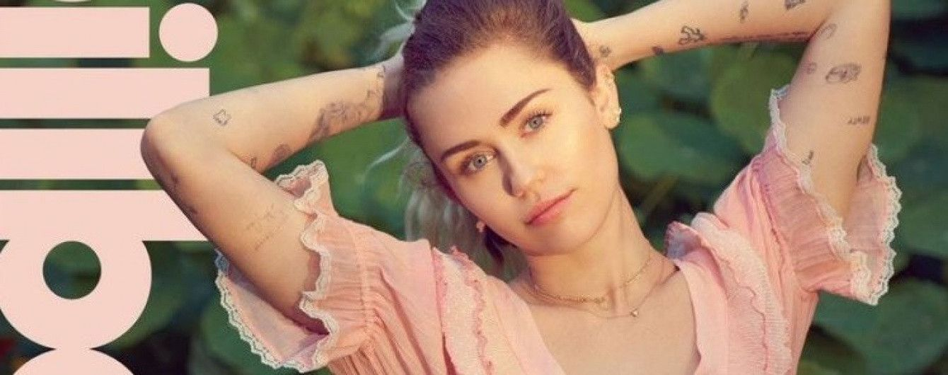 В розовом платье с рюшами: Майли Сайрус позировала в романтическом образе для Billboard