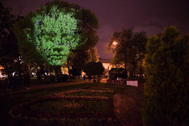 Лица на деревьях и узоры на домах: в Киеве ярко открыли фестиваль света