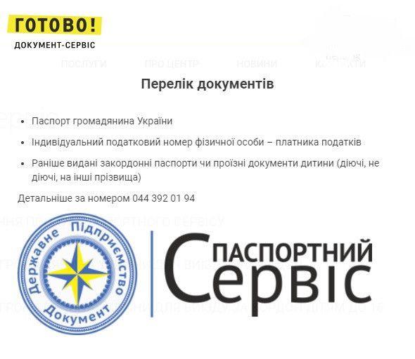 документи для біометричного паспорту