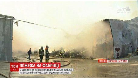 Одиннадцать единиц техники из разных районов Киевщины тушили пожар на фабрике в Березани
