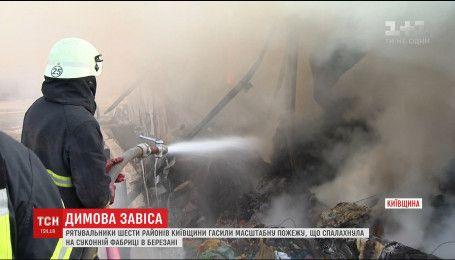 Более 6 часов тушили огонь на фабрике под Киевом