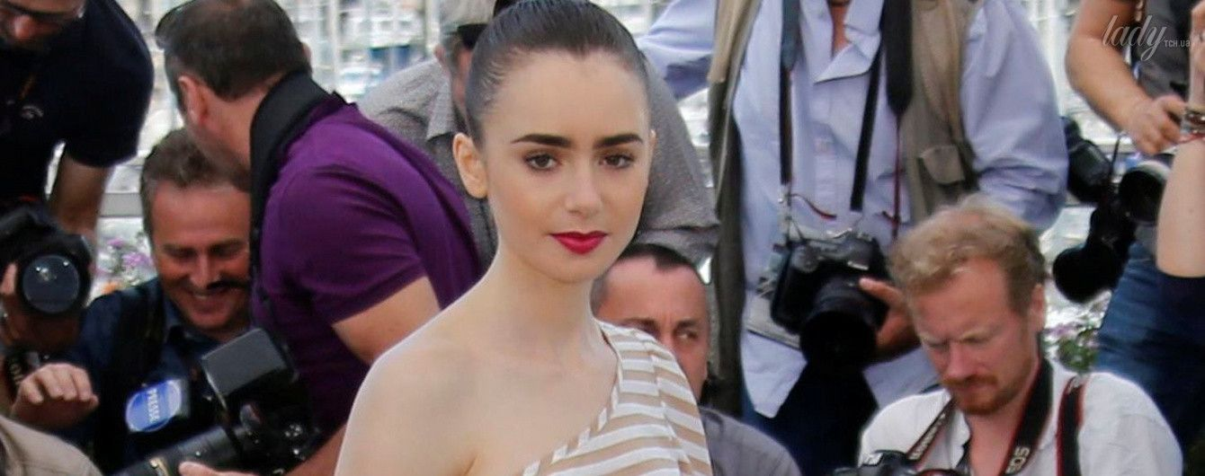 В юбке с пайетками и яркими губами: Лили Коллинз на фотоколле в Каннах