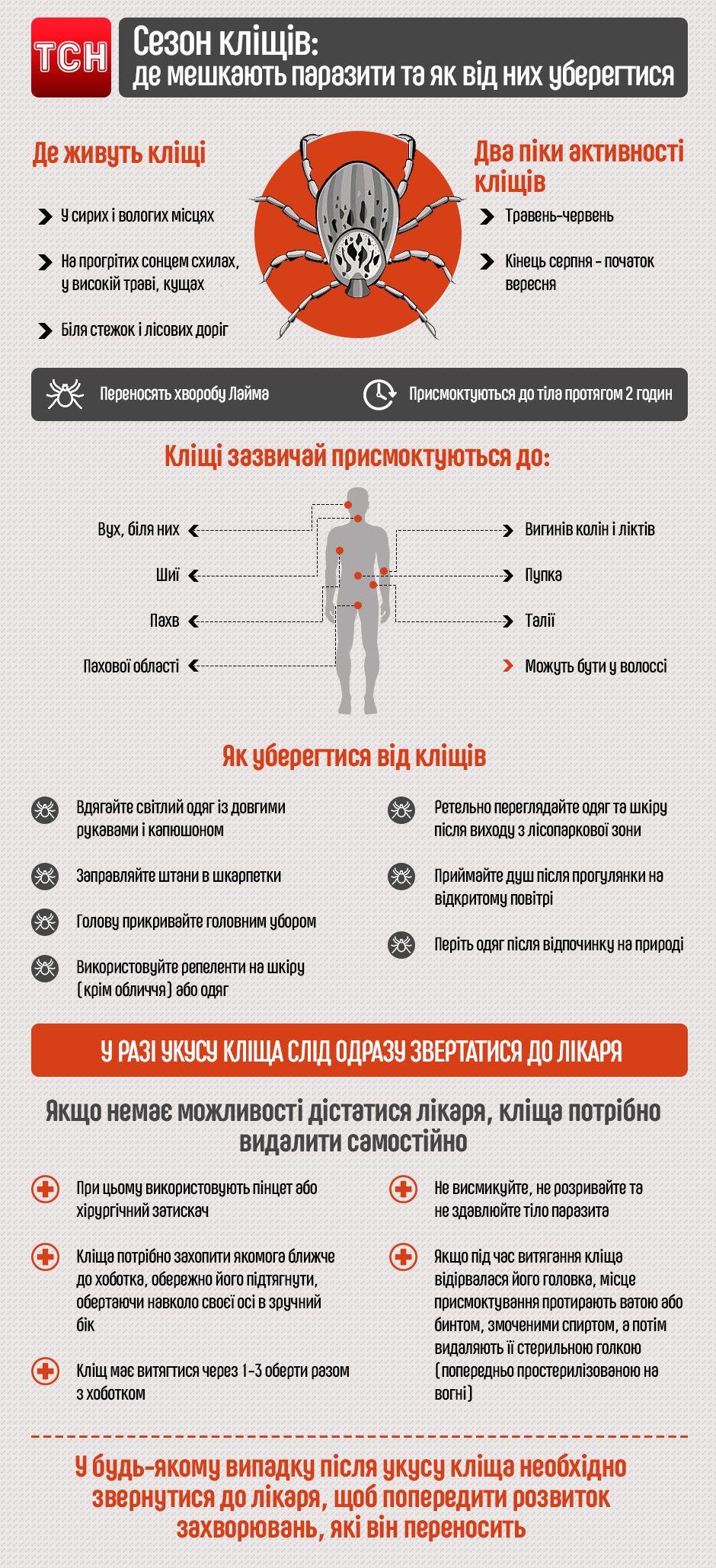 Як уберегтися від кліщів, оновлена інфографіка