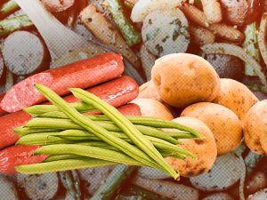 Идеальное трио: молодой картофель, овощи и колбаски