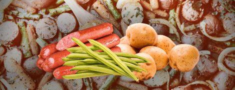 Ідеальне тріо: молода картопля, овочі і ковбаски