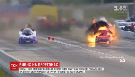 В США во время соревнований по дрэг-рейсингу на скорости 500 километров взорвалась машина