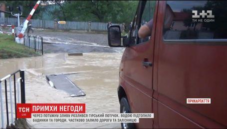 На Прикарпатье горный поток подтопил почти полсотни домов, автодорогу и железную дорогу