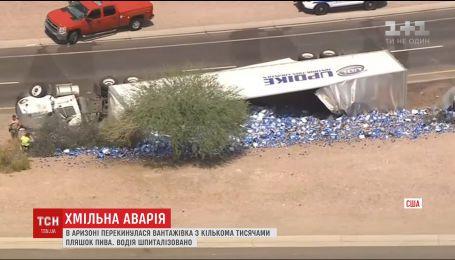 В Аризоне перевернулся грузовик с несколькими тысячами бутылок пива