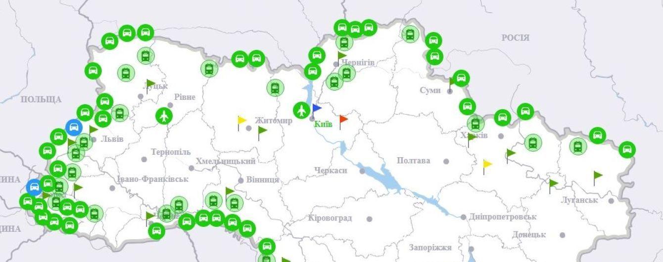 Українські прикордонники показали на мапі завантаженість на межі з ЄС у день безвізу