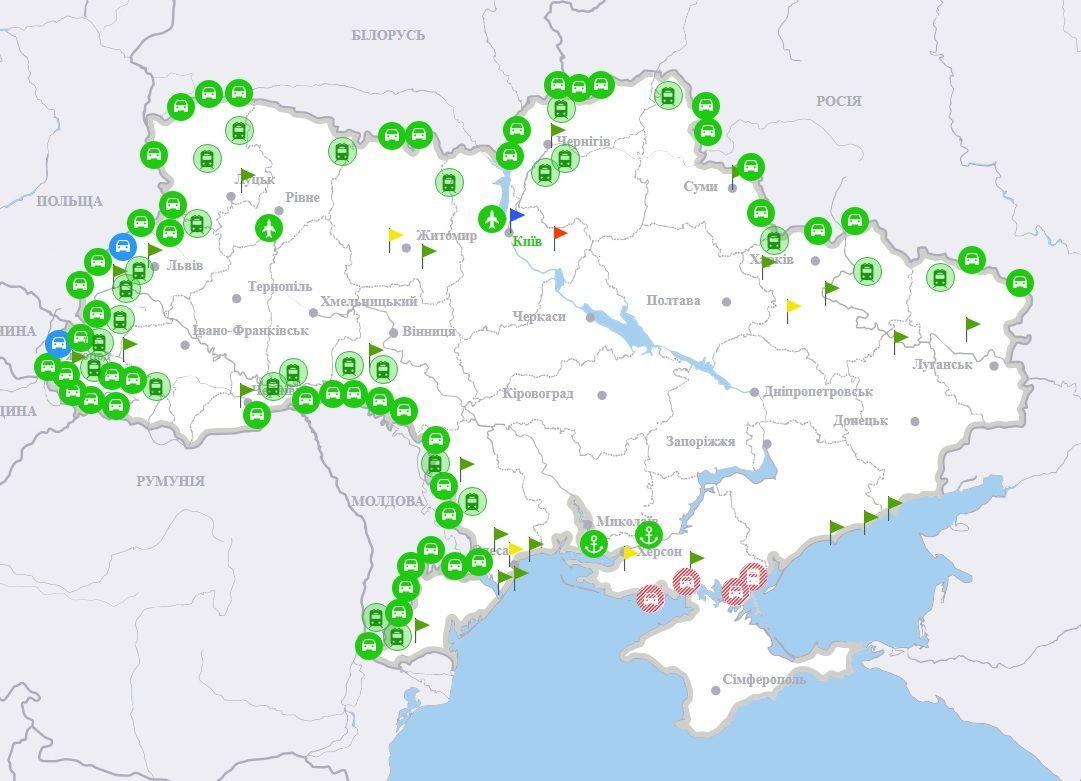 Інтерактивна мапа завантаженості на кордонах