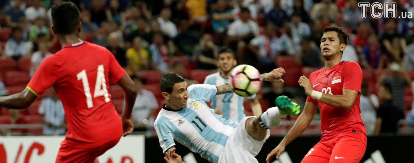 """Аргентина без Мессі забила шість """"сухих"""" м'ячів Сінгапуру"""