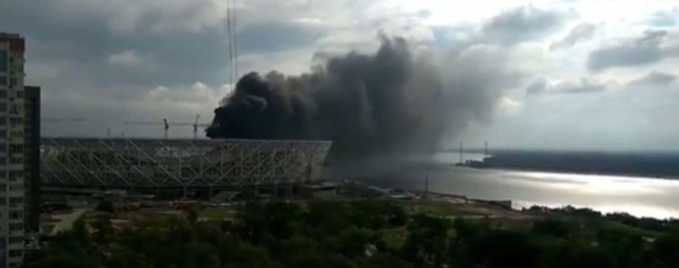 В Волгограде горел стадион, который строят для ЧМ по футболу