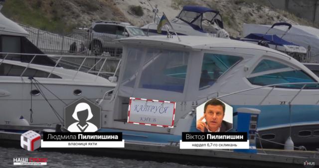 катер дружини Віктора Пилипишина, екс-нардепа та екс-голову Шевченківської РДА.