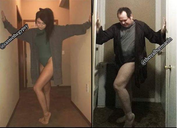 Отец, который забавно воспроизводит дерзкие фото дочери, вдвое обогнал ее по количеству подписчиков