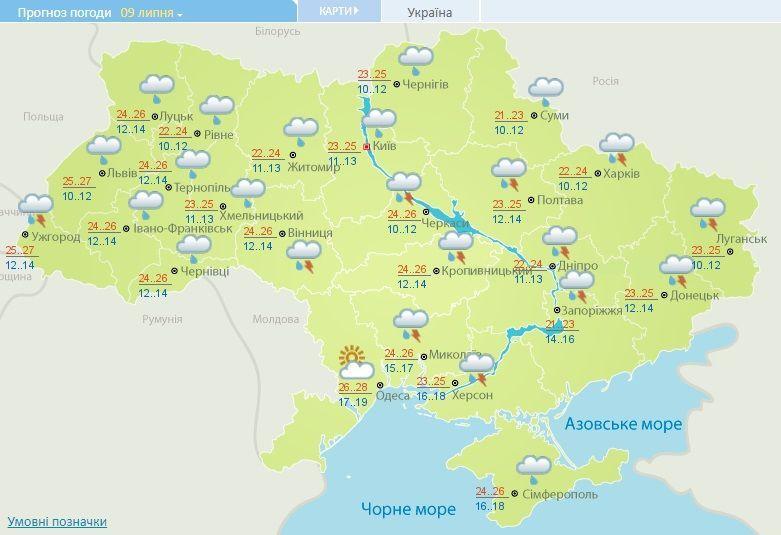 погода на 9 липня