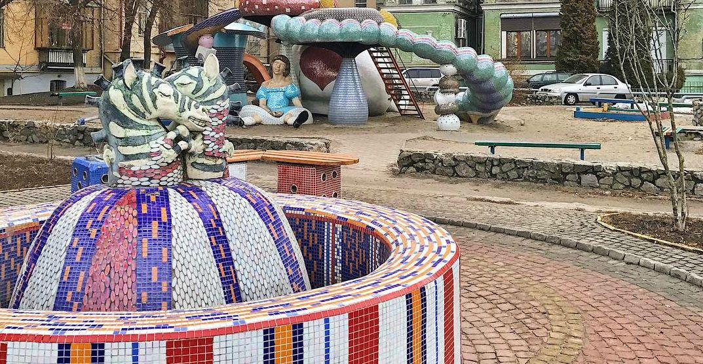 Пейзажна Алея - фонтан закохані зебри
