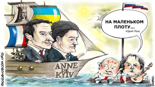 Карикатура Макрон, Порошенко, Путін, для блогів