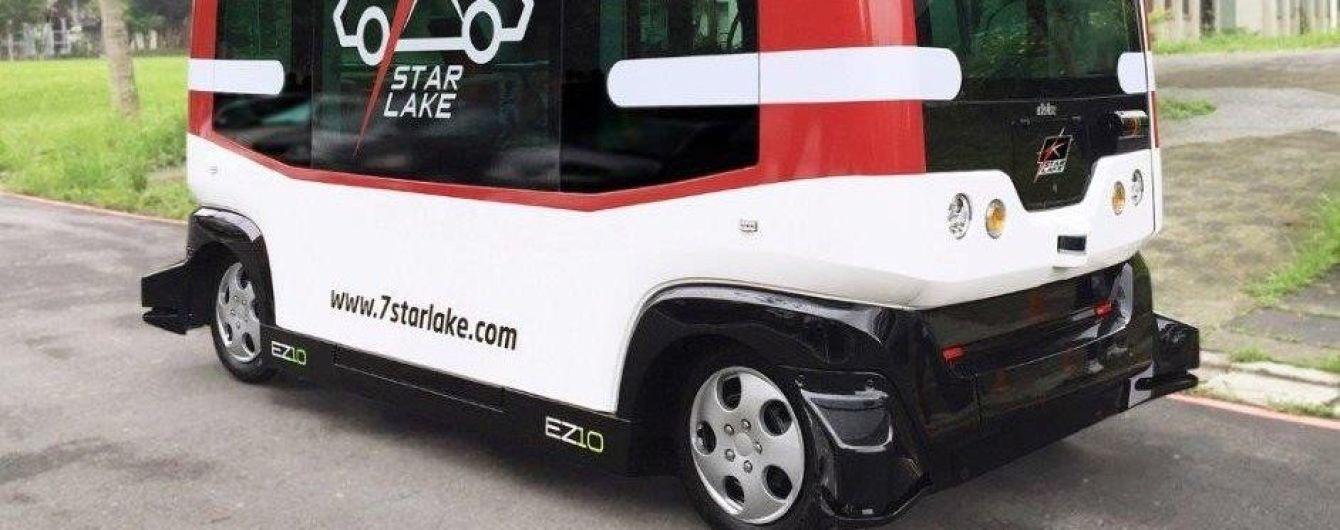 В Тайване беспилотный автобус EZ10 отправился в путь с пробным проездом