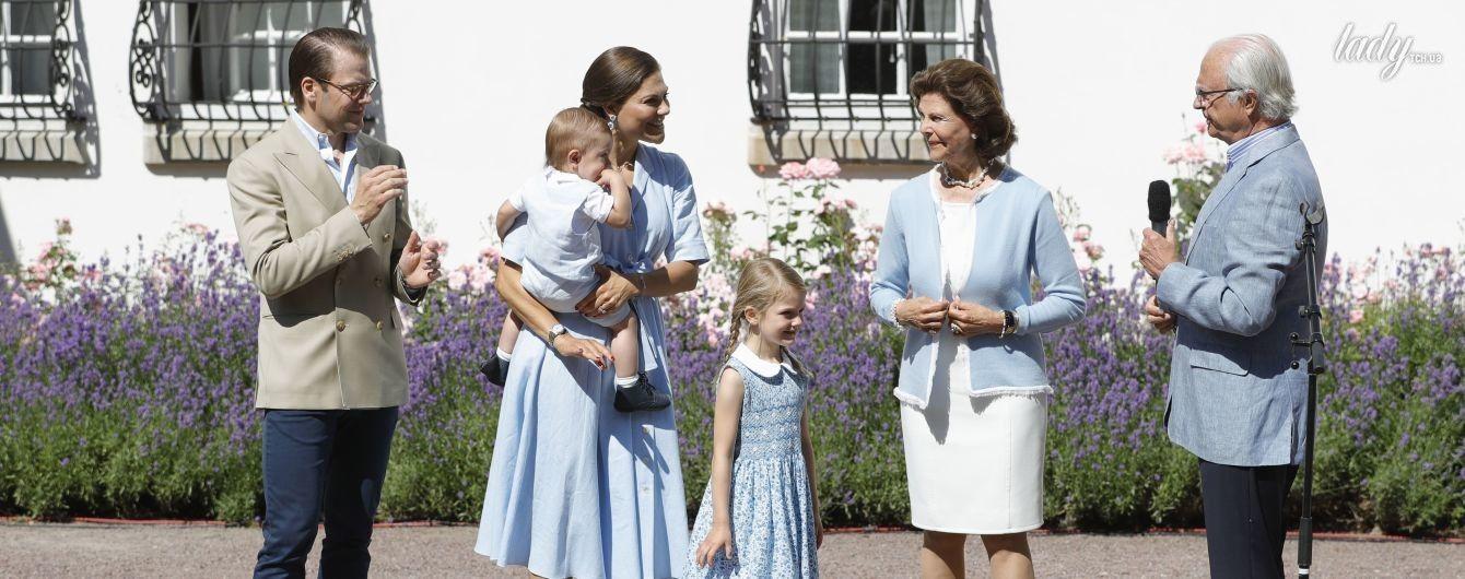 Все в голубом: королевская семья Швеции празднует 40-летие кронпринцессы Виктории