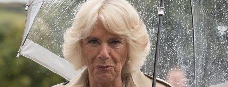 В плаще и под зонтом: герцогиня Камилла бережет свою укладку