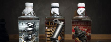 Мотомастерская выпустила премиальный джин, который содержит детали старых мотоциклов