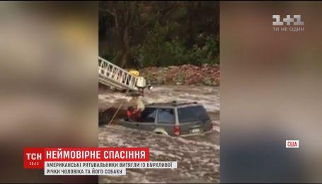 В США спасатели вытащили из бурной реки мужчину с собакой