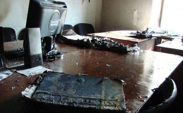 В кабинет «Киевблагоустройства» бросили коктейль Молотова