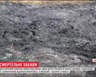 На Харьковщине шестилетний мальчик погиб во время игры с огнем в стоге сена