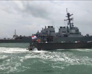 Американский военный корабль столкнулся с торговым судном неподалеку Сингапура