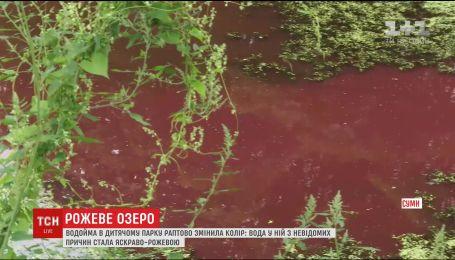 Водойма у дитячому парку міста Суми раптово змінила колір