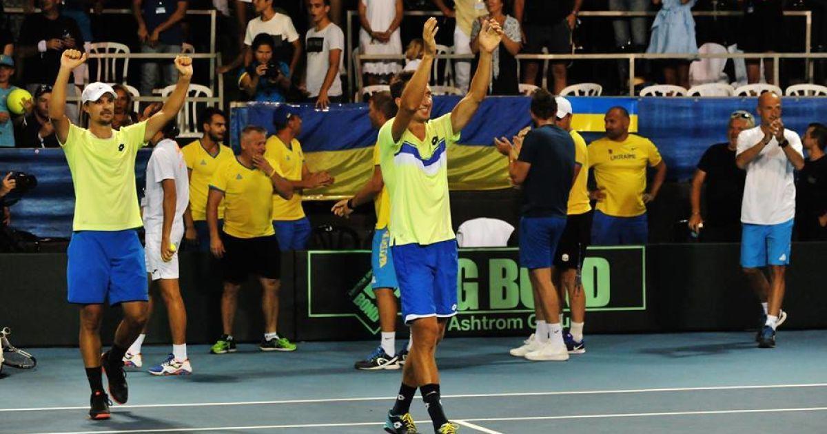 Чоловіча збірна України з тенісу здобула дострокову перемогу над командою  Ізраїлю в матчі плей-оф Першої групи Євро-Африканської зони Кубка Девіса. c1223d95a6322