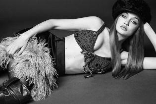 В вязаном лифчике и мехах: Джиджи Хадид в новой съемке для глянца