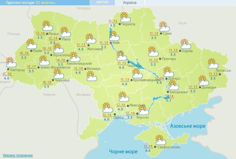 прогноз погоди на 2 жовтня