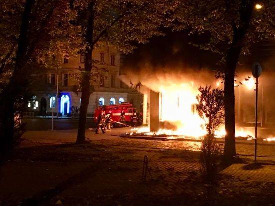 У Львові згоріло приміщення «Сбербанку» РФ