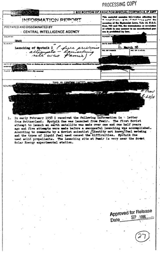"""ЦРУ розсекретило десятки радянських документів про запуск """"Супутника-1"""""""